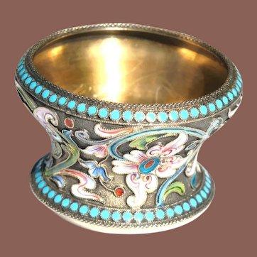 Antique Imperial Russian Shaded Cloisonne Enamel Salt Dish Bowl