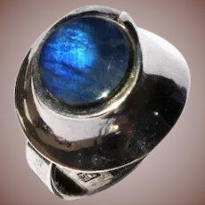 Finland Mid Century Scandinavian Modern Sterling Silver Labradorite Hyvarinen Ring