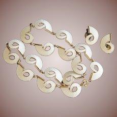Mid Century Scandinavian Modern 925S Silver Gilt Guilloche Enamel Necklace Set