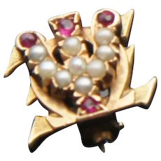 Vintage 10k Gold Pearl Ruby Psi Omega Dental Fraternity Pin Badge