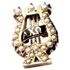 Vintage 10k Gold Alpha Chi Omega Pearl Set Lyre Sorority Pin Badge