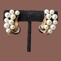 Gorgeous vintage 1950s 14k Gold Akoya Pearl Statement Clip Back Earrings