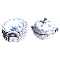 Antique German Royal Berlin c1850 Blue and White Butterfly Soup Tureen Rim Bowl Service