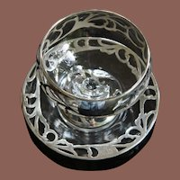 Art Nouveau Sterling Silver Overlay Sherbet Dish and Underplate Engraved M