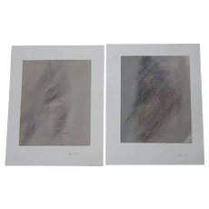 Estate Find Rare Listed Artist Fred Ploeger Pair Original Abstract Drawings 'Adam' 1980 Signed