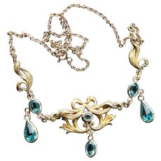 Art Nouveau Gold Fill or Plate Aquamarine Paste Festoon Necklace c1910