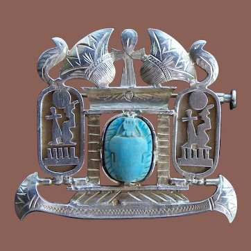 Vintage Egyptian Revival 800 Coin Silver Scarab Brooch Pendant c1950