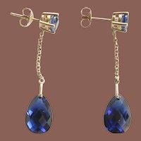 Estate 10k Yellow Gold 8ct total weight Sapphire Post Briolette Drop Pierced Earrings