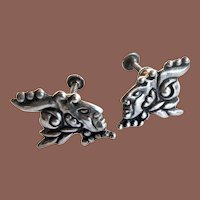 Vintage Mexico Los Castillo Signed Pre Hispanic Mayan Motif Sterling Silver Screwback Earrings