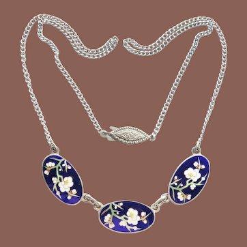 Vintage Japan Meiji Sterling Silver Cobalt Enamel Cherry Blossom Sakura Necklace