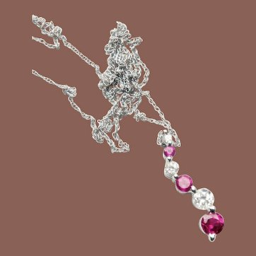 Gorgeous 10k White Gold Diamond and Ruby Pendant Necklace
