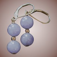 Estate 14k Gold 8mm Lavender Jade Bead Earrings
