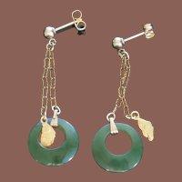 Vintage Alaska Jade Natural Gold Nugget Drop Pendant Pierced Earrings