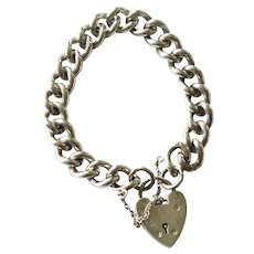 Classic Vintage British Sterling Silver Curb Chain Bracelet Heart Charm Lock Clasp