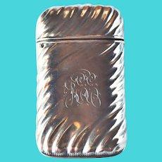 Art Nouveau Sterling Silver Match Safe Vesta Engraved JEE c1910
