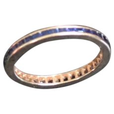 Vintage 14k Gold Channel Set Blue Sapphire Eternity Guard Ring sz5.5