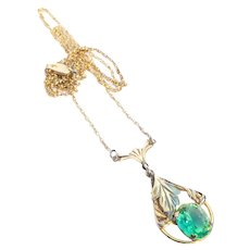Rare Art Deco Gold Fill Open Back Vaseline Uranium Glass Pendant Necklace