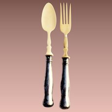 Antique 800 Coin Austro Hungarian Hollow Handle Salad Servers Fork and Spoon Set 1866-77