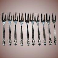 """Vintage Georg Jensen Acorn Pattern Set 10 5 5/8"""" Sterling Silver Pastry Forks mark: 1945-51"""