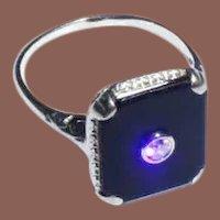 Vintage Late Victorian Style Art Nouveau 14k White Gold Onyx & Diamond Signet Ring sz8.5