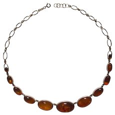 Large Baltic Amber and Sterling Necklace