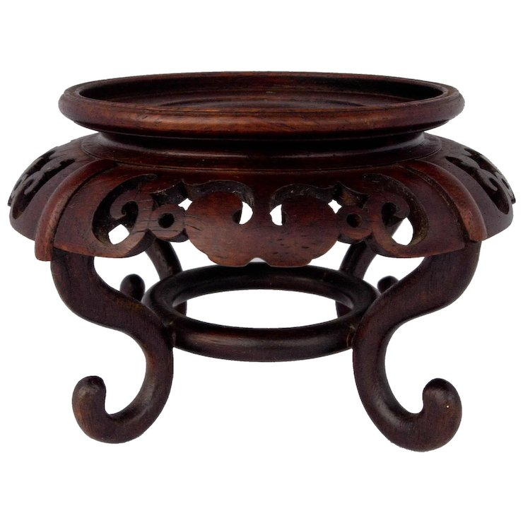 Asian Carved Rosewood Vase Stand Activretro Collectibles Ruby Lane
