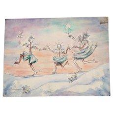 Original Watercolor/ Sketch , Lily Converse, Russian Artist