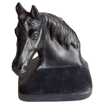 Vintage Cast Iron Horse Head Bookends