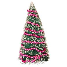 Tall Vintage Christmas Brush Tree with Pink Mercury Glass Garland, Japan
