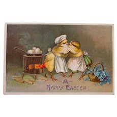 Charming Easter Chicks in Kitchen, German