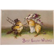 1910 Easter Postcard with Courting Chicks, German