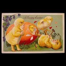 Early German Easter postcard, Babies dressed as Chicks