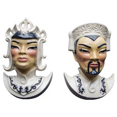 Lotus and Manchu Ceramic Wall Pocket Heads, 1950's
