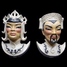 Lotus and Manchu Ceramic Wall Pocket Heads, 1950's