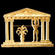 JJ Gold tone Pin, Greek design