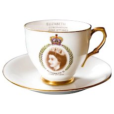 Queen Elizabeth II Coronation Bone China Cup and Saucer