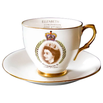 Queen Elizabeth II Coronation Bone China Cup and Saucer