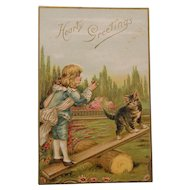 Early German Greeting Postcard with Kitten