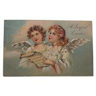 Early German Easter Postcard with Cherubs- mercury glitter