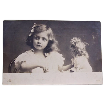 Early Real Photo Postcard, Little Girl with Doll