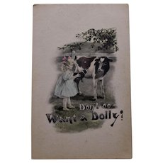Postcard with Cow and doll