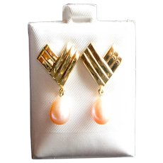 Pair 14kt and Pink Baroque Pearl Earrings