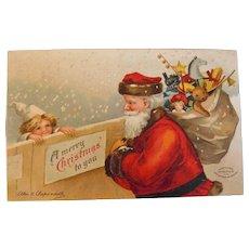 Vintage Santa Postcard, Ellen Clapsaddle,