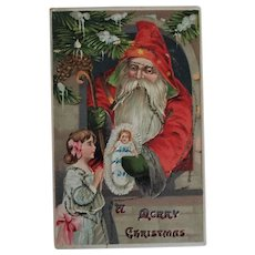 Vintage Father Christmas Postcard with Glitter