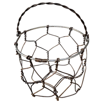 Vintage Early Century French Wire Egg Basket