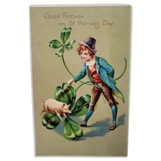St Patrick's Day Postcard with Lucky Pig