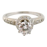 Vintage 18K White Gold 0.65ct Round & Single-cut Diamond Accent Engagement Ring