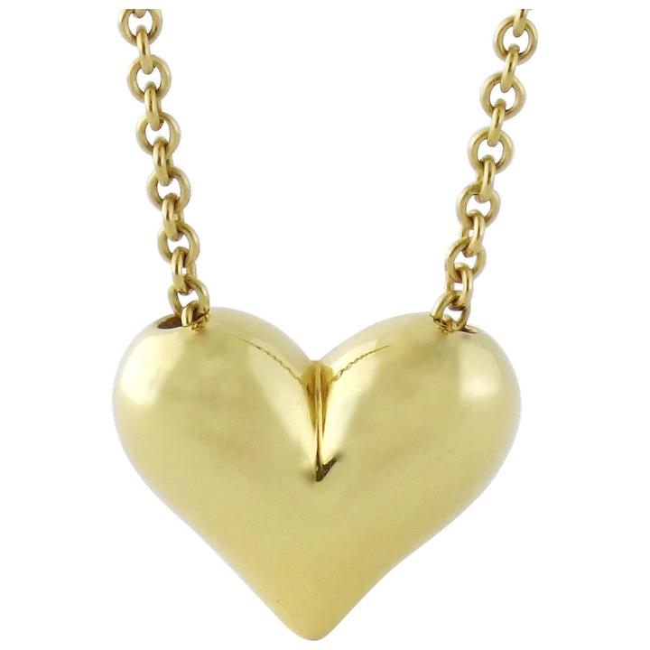 ca8b670cc1052 Vintage Estate Tiffany & Co 18K Yellow Gold Puffy Heart Pendant 16 Chain  Necklace
