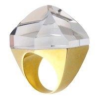 Estate H.Stern 18K Gold & Faceted Quartz Ring Sz:6.5