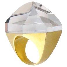 """H.Stern by Diane von Furstenberg 18K Gold & Faceted Quartz """"Power"""" Ring, Sz:6.5"""